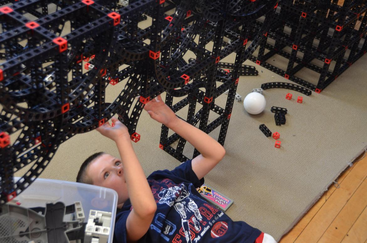 Image of Student Working on Large Structure