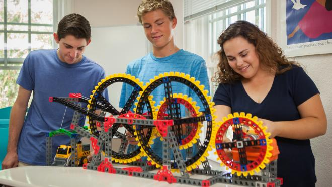 Image of Students Working With Large Gears