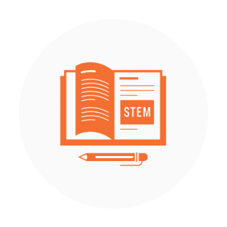 STEM Education Curriculum Icon - Orange on Light Gray